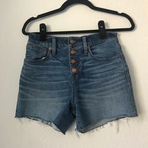 Madewell high-rise button fly denim shorts
